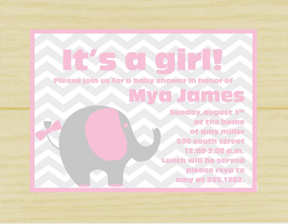 pink and gray elephant baby shower invite set of 10 on luulla